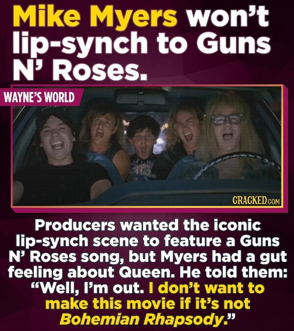 Mike Myers won't lip-synch to Guns N' RoSES. WAYNE'S WORLD 1 CRACKEDCON Producers wanted the iconic lip-synch scene to feature a Guns N' Roses song, b