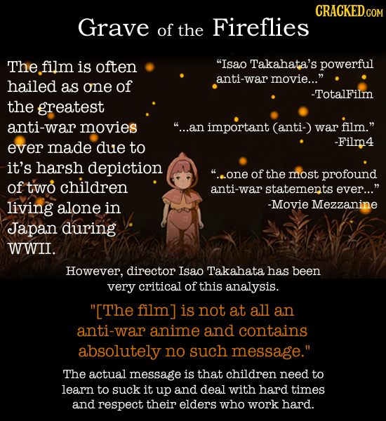 Grave of the Fireflies The film is often Isao Takahata's powerful hailed anti-war movie... as one of -Totalfilm the greatest anti-war movies ...an