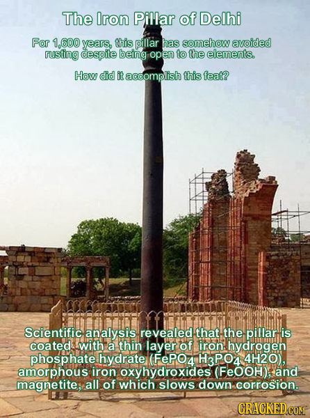 The Iron Pillar of Delhi For 1.600 years, this pillar has somehow avoided rusting despite being open to the elements. How did it accomplish this feat?