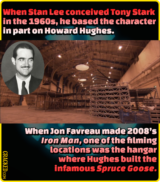 When Stan Lee conceived Tony Stark in the 1960s, he based the character in part on Howard Hughes. When Jon Favreau made 2008's Iron Man, one of the fl