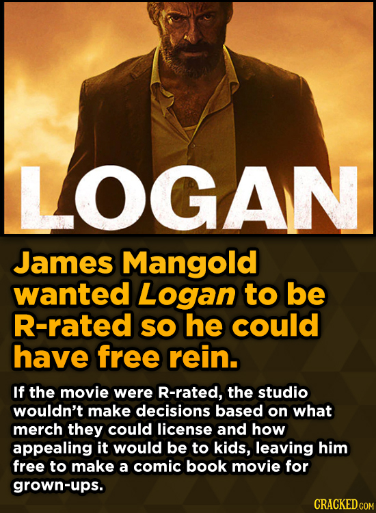 Unpredictably Weird Decisions That Gave Us Major Movie Moments -  James Mangold wanted Logan to be R-rated SO he could have free rein.
