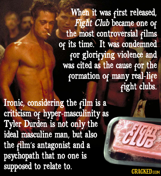 When it was first released, Fight Club became one of the most controversial films of its time. It was condemned for glorifying violence and was cited