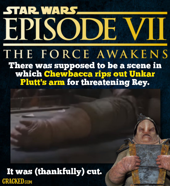 STAR WARS. EPISODE VIL THE FORCE AWAKENS There was supposed to be a scene in which Chewbacca rips out Unkar Plutt's arm for threatening Rey. It was (t