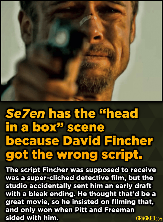 Unpredictably Weird Decisions That Gave Us Major Movie Moments - Se7en has the head in a box scene because David Fincher got the wrong script.