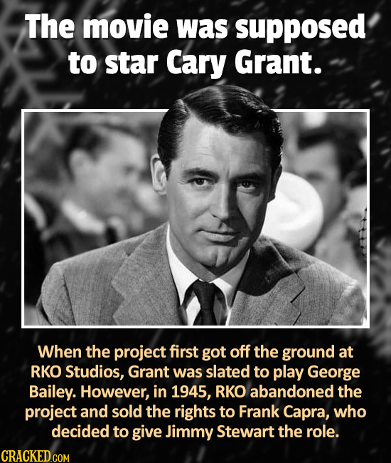 The movie was supposed to star Cary Grant. When the project first got off the ground at RKO Studios, Grant was slated to play George Bailey. However,