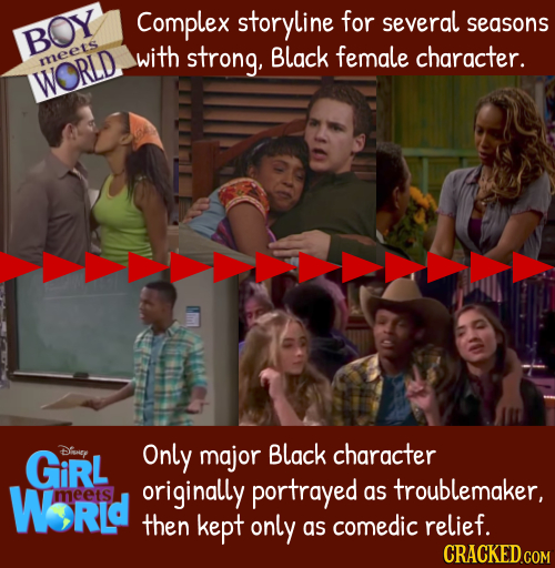 Complex storyline for several seasons BOY with strong. Black female character. meets WORLD GiRL Diey Only major Black character WorLd originally portr