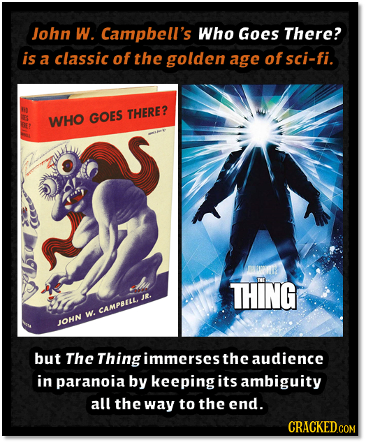 John W. Campbell's Who Goes There? is a classic of the golden age of sci-fi. WHO GOES THERE? ELROEE THING IHE IR. CAMPBELL, w. JOHN but The Thing imme