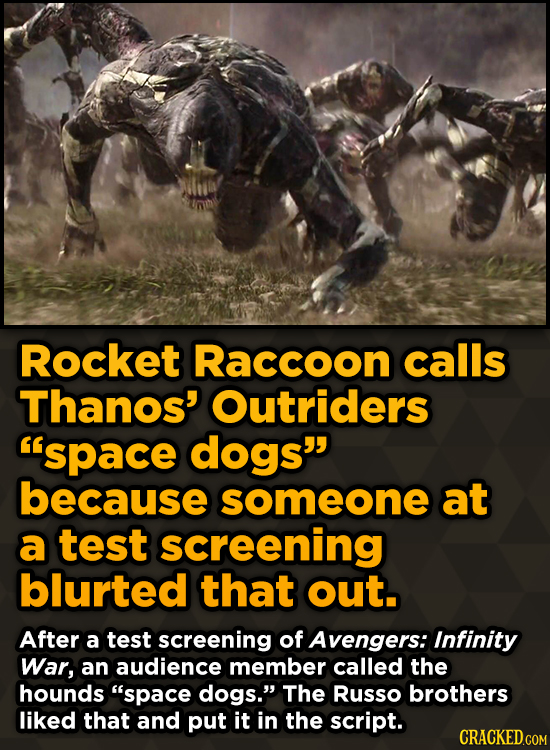 Unpredictably Weird Decisions That Gave Us Major Movie Moments - Rocket Raccoon calls Thanos' Outriders space dogs because someone at a