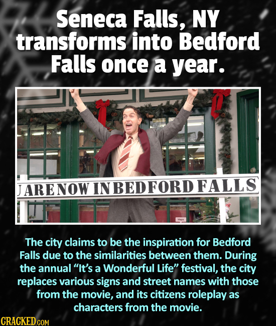 Seneca Falls, NY transforms into Bedford Falls once a year. ARENOW IN BEDFORD FALLS The city claims to be the inspiration for Bedford Falls due to the