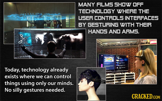 MANY FILMS SHOW OFF TECHNOLOGY WHERE THE USER CONTROLS INTERFACES BY GESTURING WITH THEIR HANDS AND ARMS. Today, technology already exists where we ca