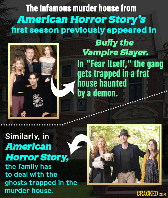 The infamous murder house from American Horror Story's first season previously appeared in Buffy the Vampire Slayer. In Fear Itself, the gang gets t