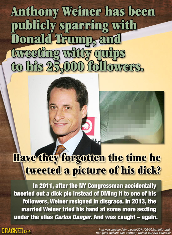 Anthony Weiner has been publicly sparring with Donald Trump, and tweeting witty quips to his 25,000 followers. Have they forgotten the time he tweeted