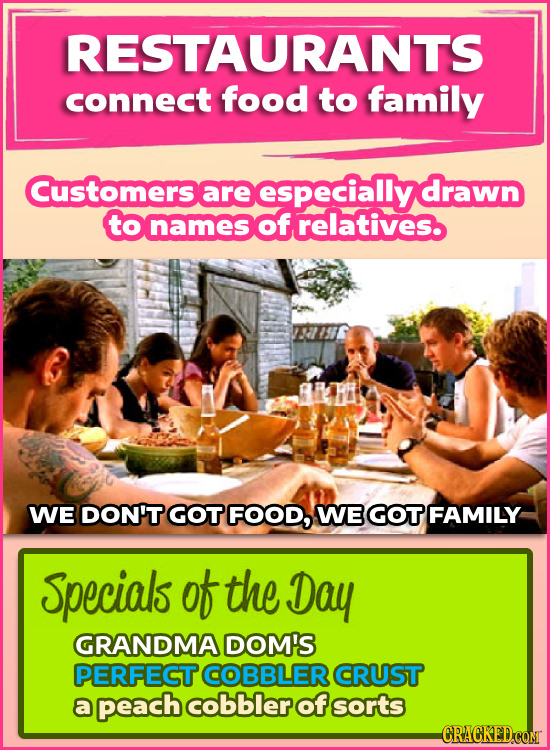 RESTAURANTS connect food to family Customers are especially drawn to names of relatives. WE DON'T GOT FOOD, WE GOT FAMILY Specials of the Day GRANDMA