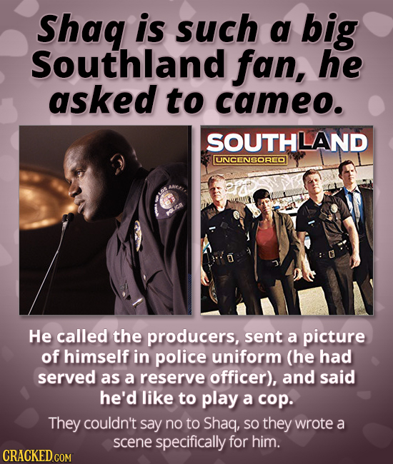 Shag is such a big Southland fan, he asked to cameo. SOUTHLAND UNCENSORED He called the producers, sent a picture of himself in police uniform (he had