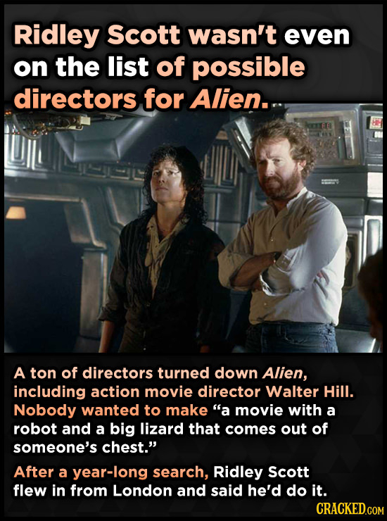 Ridley Scott wasn't even on the list of possible directors for Alien. A ton of directors turned down Alien, including action movie director Walter Hil