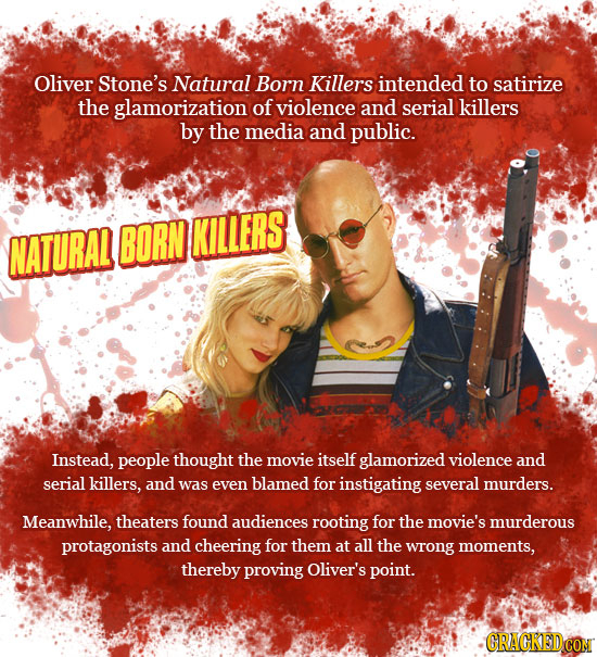 Oliver Stone's Natural Born Killers intended to satirize the glamorization of violence and serial killers by the media and public. NATURAL BORN KILLER