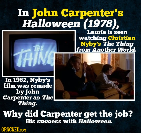 In John Carpenter's Halloween (1978), Laurie is seen watching Christian Nyby's The Thing HIN THE from Another World. In 1982, Nyby's film was remade b