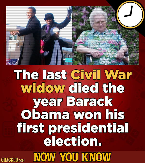 The last civil War widow died the year Barack Obama won his first presidential election. NOW YOU KNOW CRACKED COM