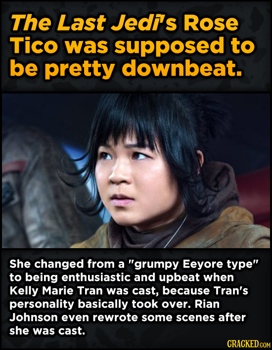 Super-Weird Early Versions Of Famous Characters - The Last Jedis Rose Tico was supposed to be pretty downbeat