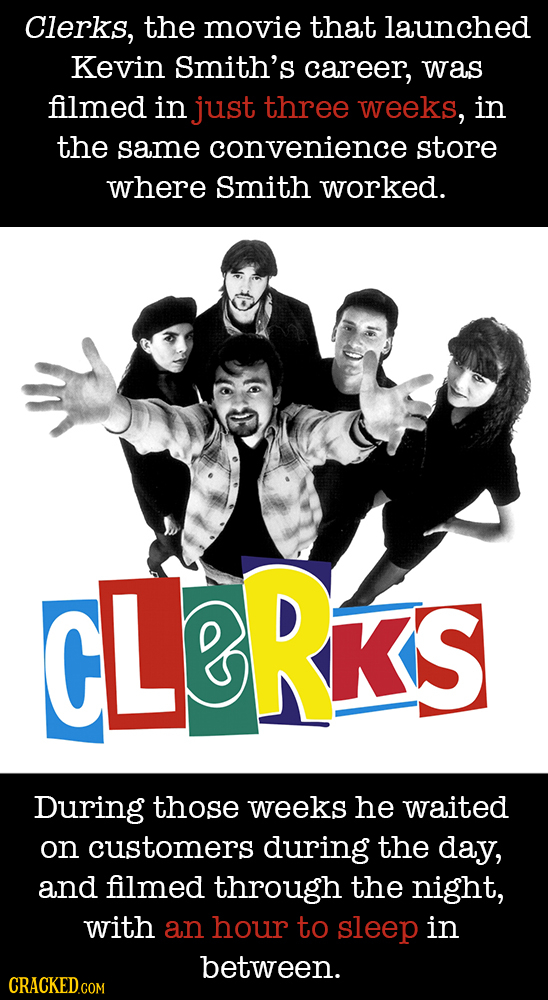 Clerks, the movie that launched Kevin smith's career, was filmed in just three weeks, in the same convenience store where Smith worked. CLERRS During