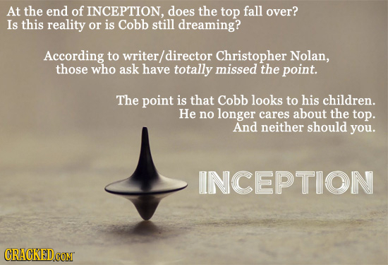 At the end of INCEPTION, does the top fall over? Is this reality or is Cobb still dreaming? According to writer director Christopher Nolan, those who