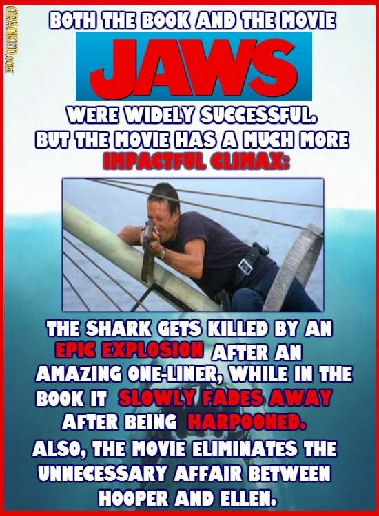 CRACKED.OOM BOTH THE BOOK AND THE MOVIE JAWS WERE WIDELY SUCCESSFUL BUT THE MOVIE HAS A MUCH MORE IMPACTFUL CLIMAX: THE SHARK GETS KILLED BY AN EPIG E