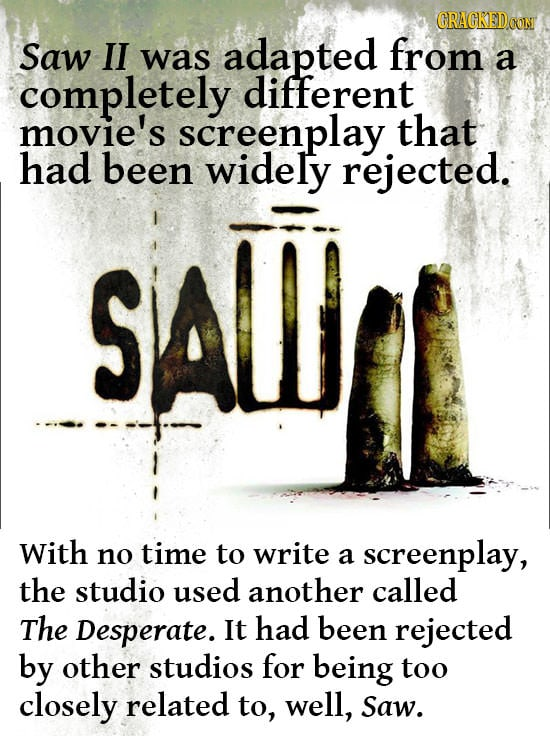 GRAGKEDCOT Saw II from was adapted a completely different movie's screenplay that had been widely rejected. SAWJ With no time to write screenplay, a t