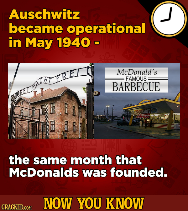 Auschwitz became operational in May 1940 - MeDonald's FAMOUS BARBECUE Elir sMcDonald's the same month that McDonalds was founded. NOW YOU KNOW CRACKED