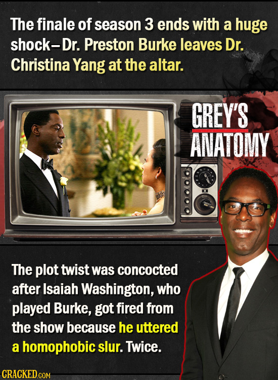 The finale of season 3 ends with a huge shock-Dr. Preston Burke leaves Dr. Christina Yang at the altar. GREY'S ANATOMY The plot twist was concocted af