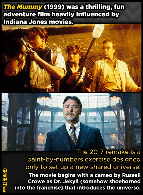 The Mummy (1999) was a thrilling, fun adventure film heavily influenced by Indiana Jones movies.. The 2017 remake is a paint-by-numbers exercise desig