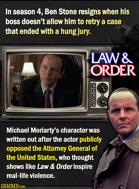 In season 4, Ben Stone resigns when his boss doesn't allow him to retry a case that ended with a hung jury. LAW & ORDER Michael Moriarty's character w