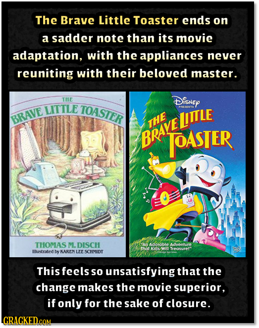 The Brave Little Toaster ends on a sadder note than its movie adaptation, with the appliances never reuniting with their beloved master. THE DISNEY LI