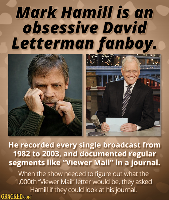 Mark Hamill is an obsessive David Letterman fanboy. He recorded every single broadcast from 1982 to 2003, and documented regular segments like Viewer