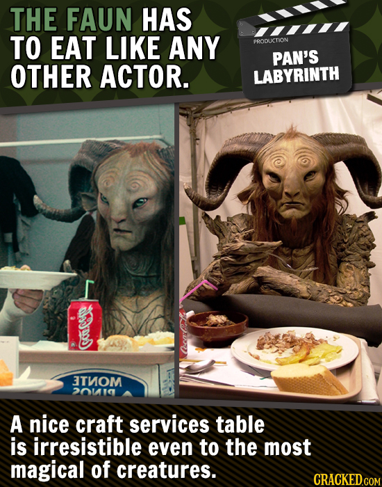 THE FAUN HAS TO EAT LIKE ANY PRODUCTION PAN'S OTHER ACTOR. LABYRINTH Go CecarCR 3TNOM 20110 A nice craft services table is irresistible even to the mo
