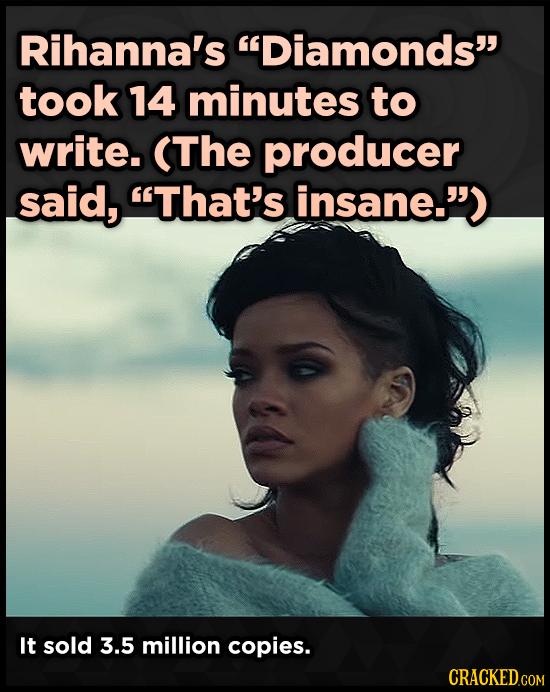 Rihanna's Diamonds took 14 minutes to write. (The producer said, That's insane.) It sold 3.5 million copies.