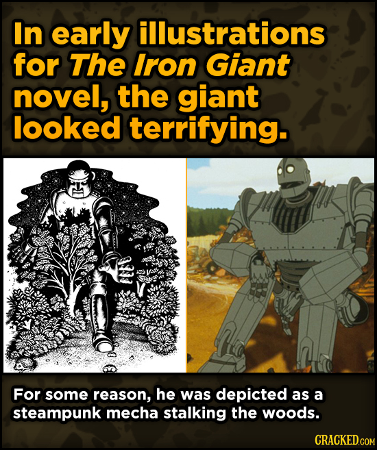 Super-Weird Early Versions Of Famous Characters - In early illustrations for The Iron Giant novel, the giant looked terrifying.