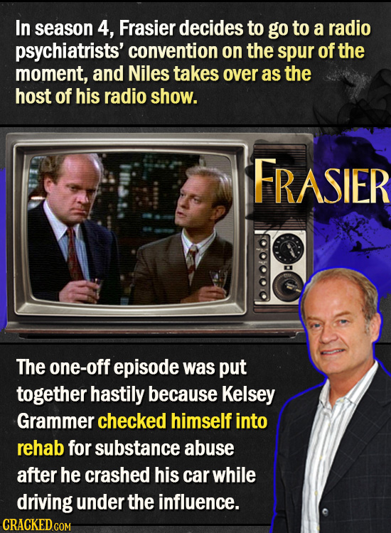In season 4, Frasier decides to go to a radio psychiatrists' convention on the spur of the moment, and Niles takes over as the host of his radio show.