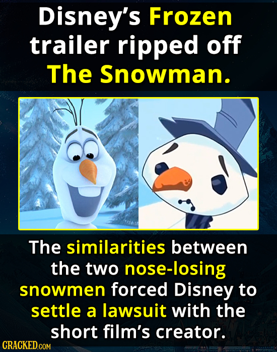 Disney's Frozen trailer ripped off The Snowman. The similarities between the two nose-losing snowmen forced Disney to settle a lawsuit with the short