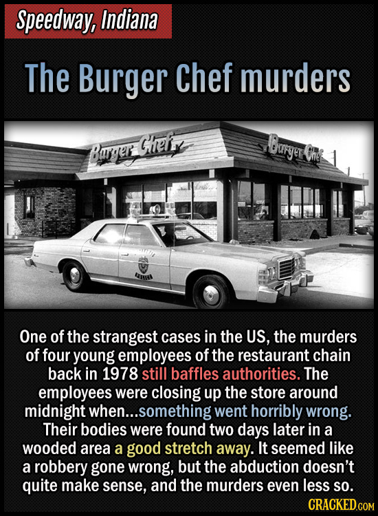 Speedway, Indiana - The Burger Chef murders - One of the strangest cases in the US, the murders of four young employees of the restaurant chain back i