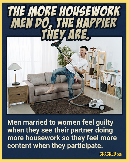 THE MORE HOUSEWORK MEN DO, THE HAPPIER THEY ARE. Men married to women feel guilty when they see their partner doing more housework so they feel more c