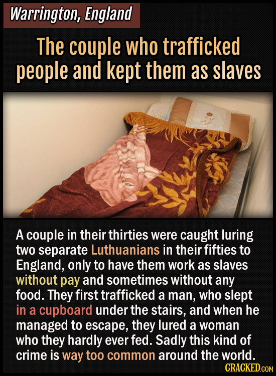 Warrington, England - The couple who trafficked people and kept them as slaves - A couple in their thirties were caught luring two separate Luthuanian
