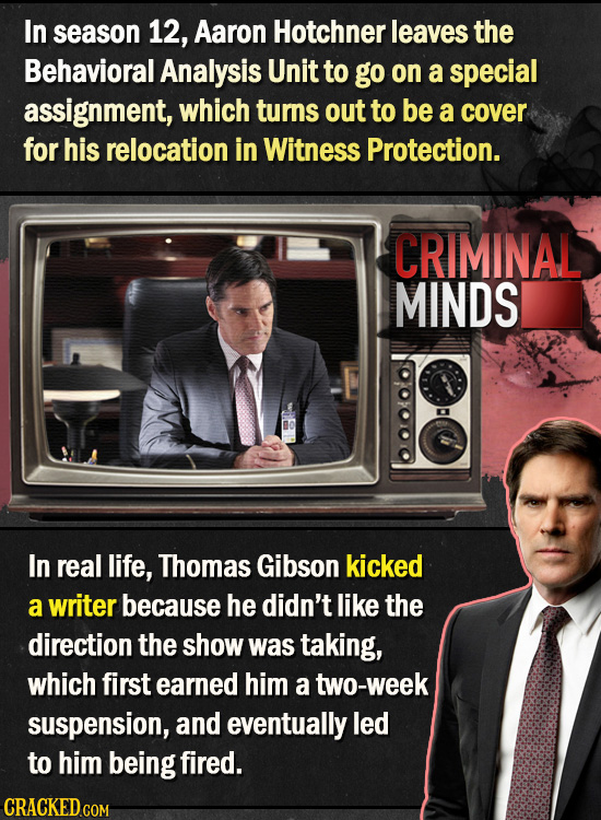 In season 12, Aaron Hotchner leaves the Behavioral Analysis Unit to go on a special assignment, which turns out to be a cover for his relocation in Wi