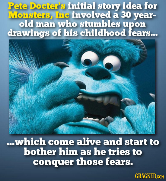 Pete Docter's initial story idea for Monsters, Inc involved a 30 year- old man who stumbles upon drawings of his childhood fears... ...which come aliv
