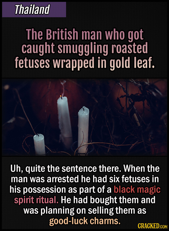 Thailand - The British man who got caught smuggling roasted fetuses wrapped in gold leaf - Uh, quite the sentence there. When the man was arrested he