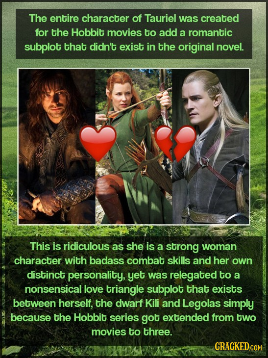 The entire character of Tauriel was created for the Hobbit movies to add a romantic subplot that didn't exist in the original novel. This is ridiculou
