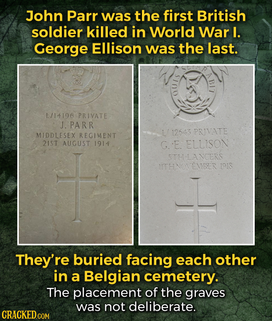 John Parr was the first British soldier killed in World War I. George Ellison was the last. L/14196 PRIVATE J. PARR 112543 PRIVATE MIDDLESEX REGIMENT