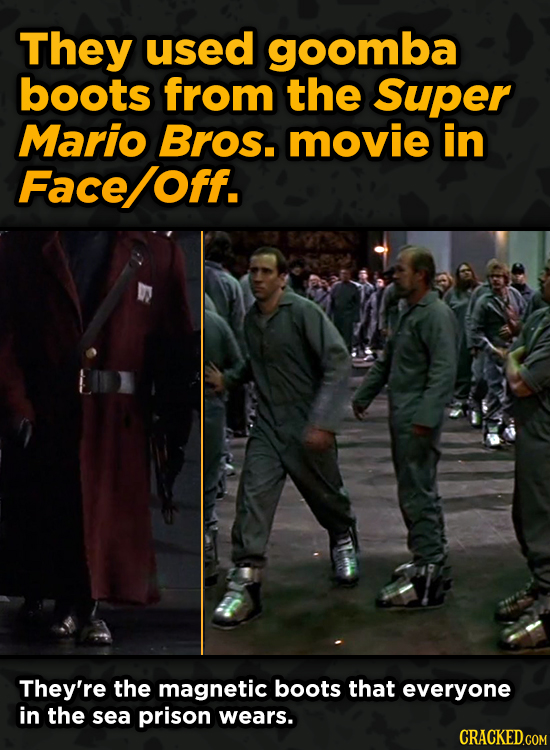 Iconic Movies You Didn't Know Reused Their Props And Sets - They used goomba boots from the Super Mario Bros. movie in Face Off.