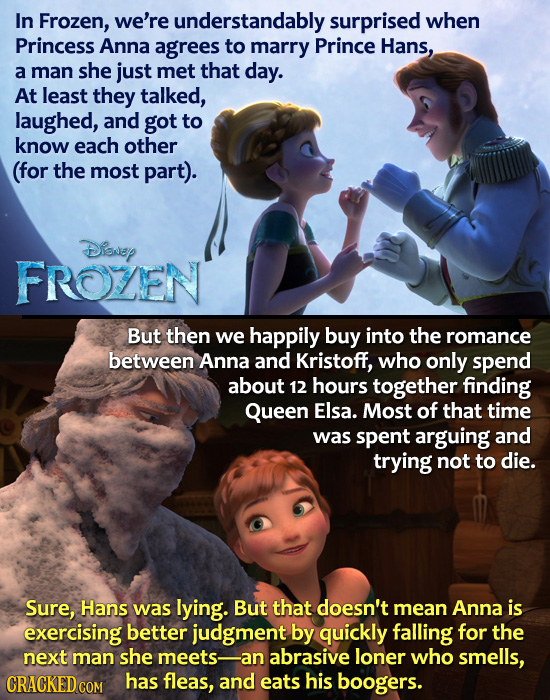 In Frozen, we're understandably surprised when Princess Anna agrees to marry Prince Hans, a man she just met that day. At least they talked, laughed,