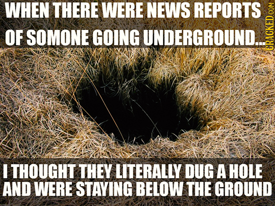 WHEN THERE WERE NEWS REPORTS OF SOMONE GOING UNDERGROUND... GRAON I THOUGHT THEY LITERALLY DUG A HOLE AND WERE STAYING BELOW THE GROUND