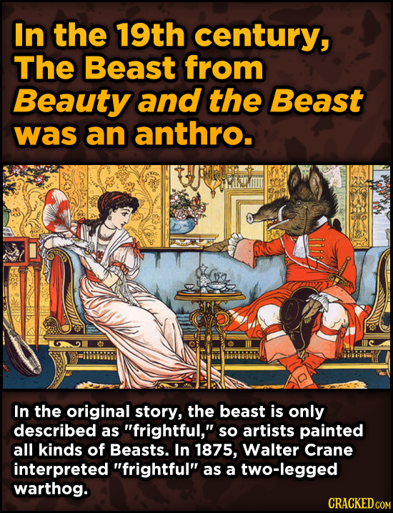 Super-Weird Early Versions Of Famous Characters - In the 19th century, The Beast from Beauty and the Beast was an anthro.